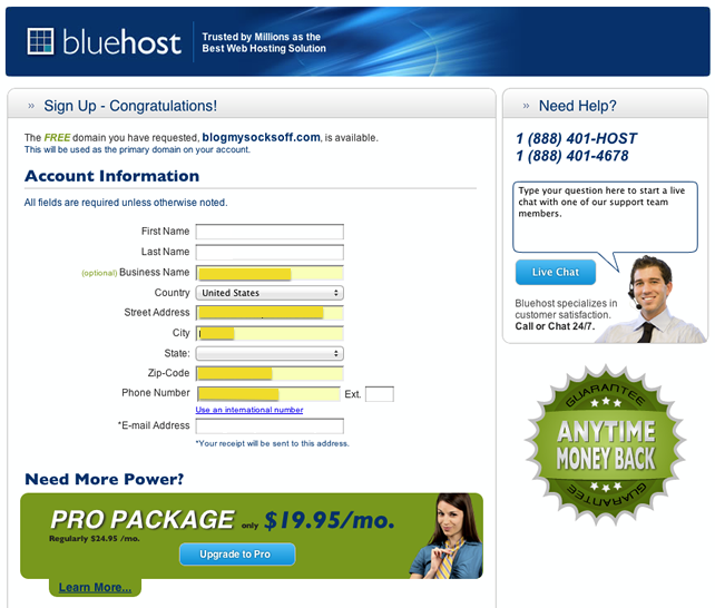 enter-your-account-information-into-bluehost